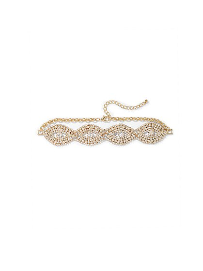 Plus Size Gold Rhinestone Choker Necklace - Fashion To Figure