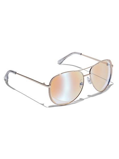 Plus Size Gold-Tone Aviator Sunglasses - Fashion To Figure