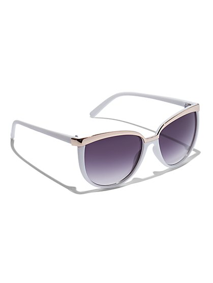 Plus Size Gold-Tone Bar White Sunglasses - Fashion To Figure