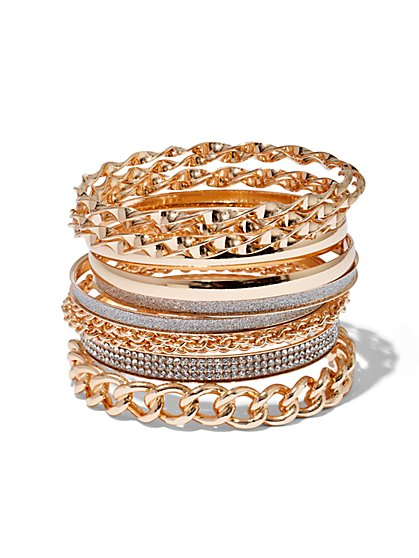 Plus Size Gold-Tone Chain Bangle Set - Fashion To Figure