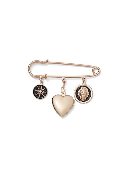 Plus Size Gold-Tone Charm Pin - Fashion To Figure