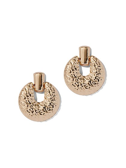 Plus Size Gold-Tone Circle Drop Earring - Fashion To Figure