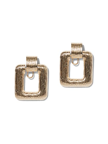 Plus Size Gold-Tone Door Knocker Earring - Fashion To Figure