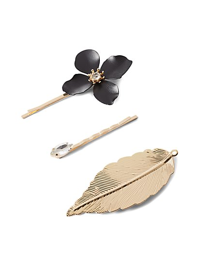 Plus Size Gold-Tone Flower and Leaf Hair Pins - Fashion To Figure