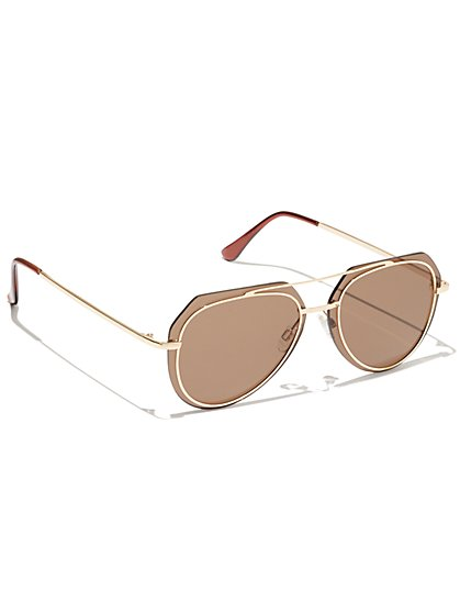 Plus Size Gold-Tone Frame Aviator Sunglasses - Fashion To Figure