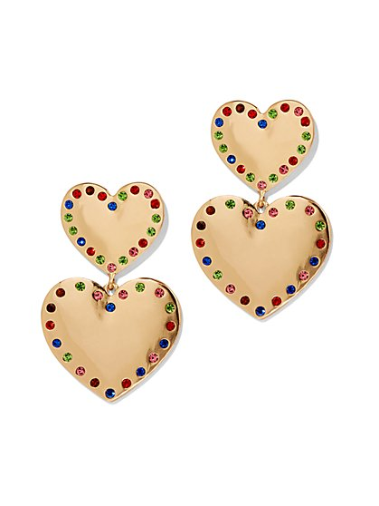 Plus Size Gold-Tone Heart Drop Earrings - Fashion To Figure