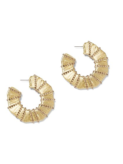 Plus Size Gold-Tone Hoop Earrings - Fashion To Figure