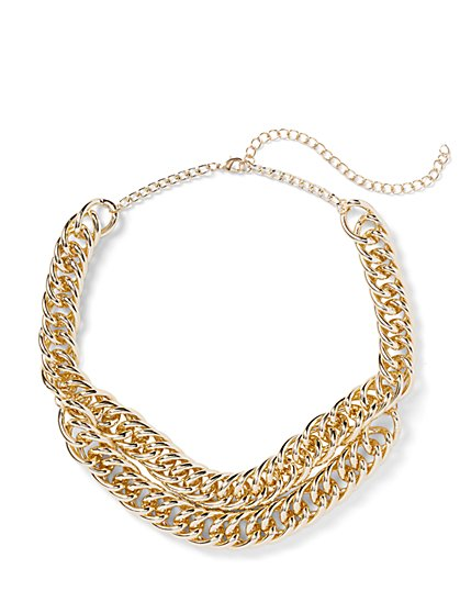 Plus Size Gold-Tone Layered Chain Necklace - Fashion To Figure