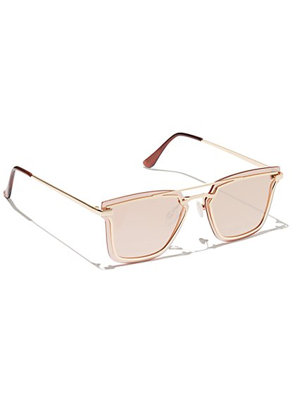 Plus Size Gold-Tone Metal Frame Sunglasses - Fashion To Figure