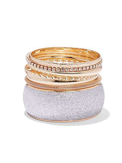 Plus Size Gold-Tone Mixed Bangle Set - Fashion To Figure