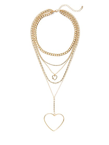 Plus Size Gold-Tone Multilayered Heart Necklace - Fashion To Figure