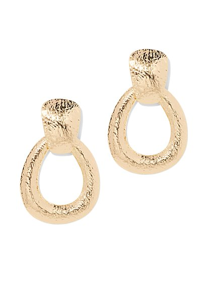 Plus Size Gold-Tone Oval Hoop Earring - Fashion To Figure