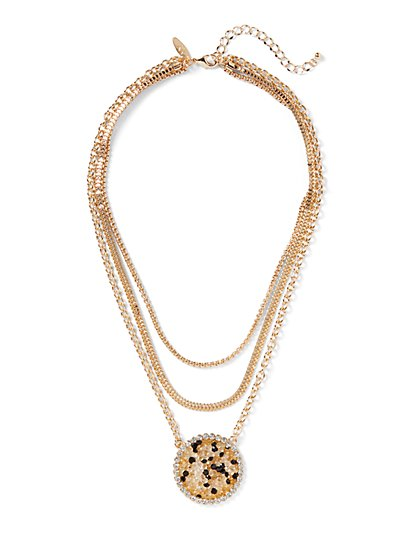 Plus Size Gold-Tone Pendant Chain Necklace - Fashion To Figure