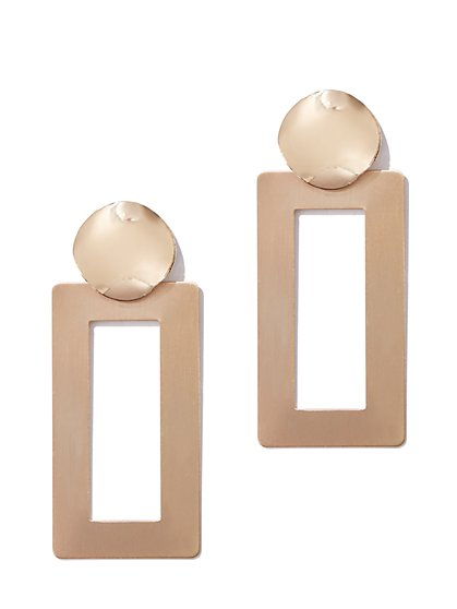 Plus Size Gold-Tone Rectangular Drop Earring - Fashion To Figure