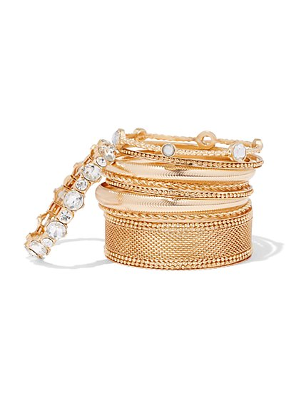 Plus Size Gold-Tone & Rhinestone Bangle Set - Fashion To Figure