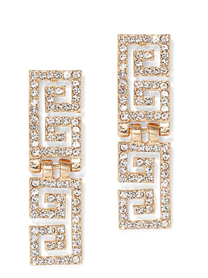 Plus Size Gold-Tone Rhinestone Detail Earrings - Fashion To Figure