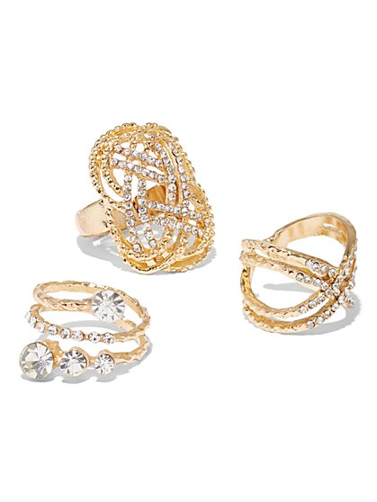Plus Size Gold-Tone Ring Set - Fashion To Figure
