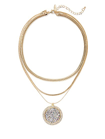Plus Size Gold-Tone Sparkle Pendant Necklace - Fashion To Figure
