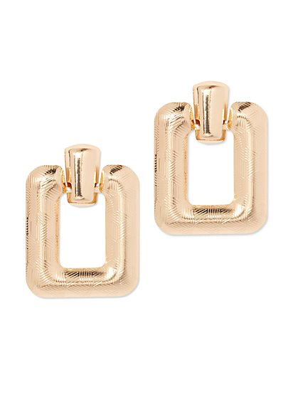 Plus Size Gold-Tone Square Dangle Earring - Fashion To Figure