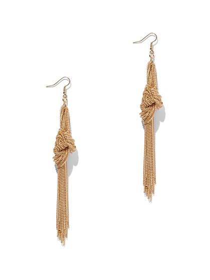 Plus Size Gold-Tone Tassel Knot Earring - Fashion To Figure