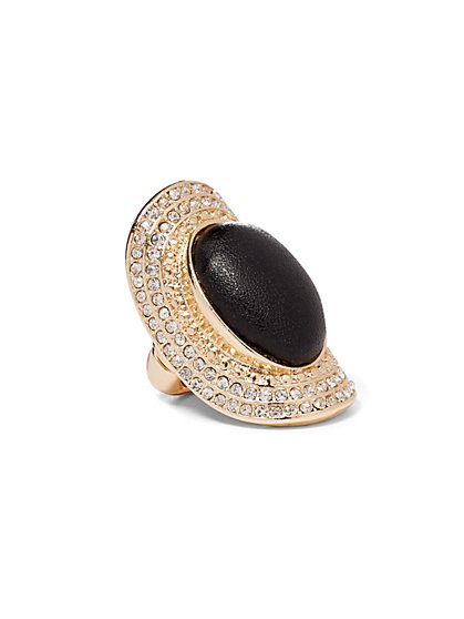 Plus Size Gold-Tone and Black Rhinestone Ring - Fashion To Figure