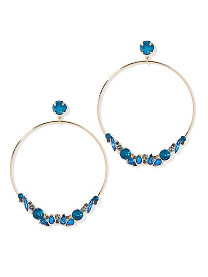 Plus Size Gold-Tone and Blue Rhinestone Earring - Fashion To Figure