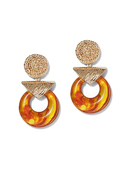Plus Size Gold-Tone and Circle Statement Earring - Fashion To Figure