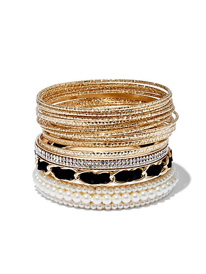 Plus Size Gold-Tone and Faux-Pearl Bangle Set - Fashion To Figure