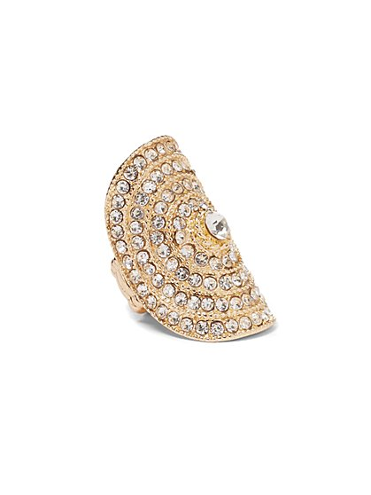 Plus Size Gold-Tone and Rhinestone Ring - Fashion To Figure