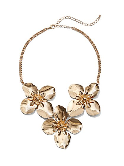 Plus Size Goldtone Floral Statement Necklace - Fashion To Figure