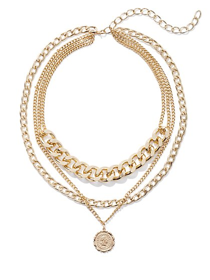 Plus Size Goldtone Pendant Layered Chain Necklace - Fashion To Figure