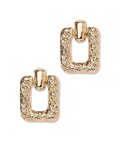 Plus Size Goldtone Square Dangle Earring - Fashion To Figure