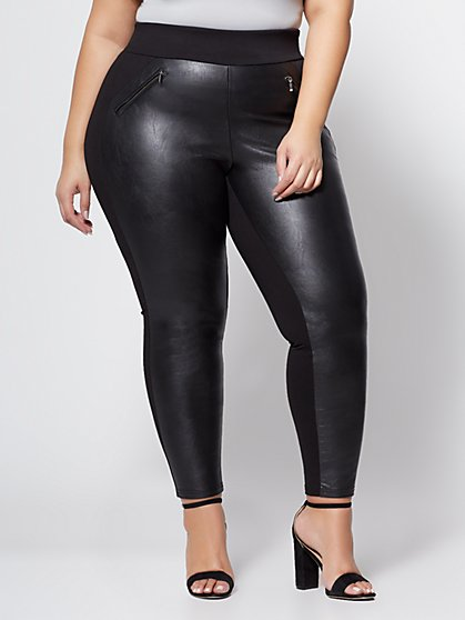 Plus Size Good Form - Faux-Leather Ponte Pants - Fashion To Figure