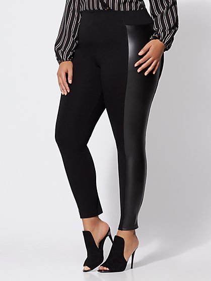 Plus Size Good Form Faux-Leather Ponte Pants - Fashion To Figure