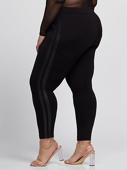 35df3f32fc8 ... Plus Size Good Form Faux-Leather Stripe Ponte Pants - Fashion To Figure  ...