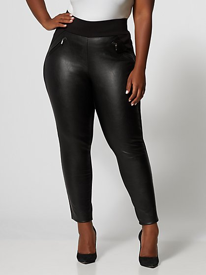 Plus Size Good Form Faux-Leather Zip Ponte Pants - Fashion To Figure