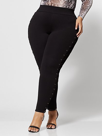 Plus Size Good Form Lace-Up Side Ponte Pants - Fashion To Figure