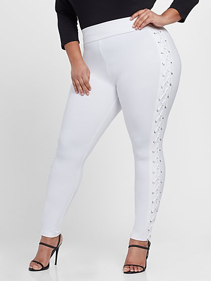 Plus Size Good Form Lace-Up Waistband Ponte Leggings - Fashion To Figure