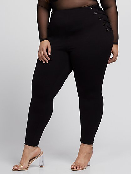 Plus Size Good Form Lace-Up Waistband Ponte Pants - Fashion To Figure
