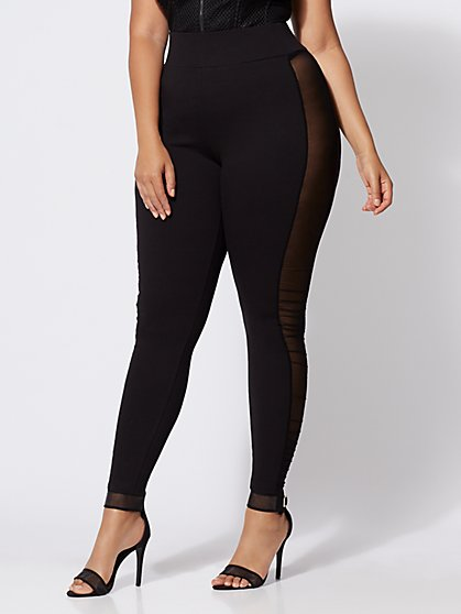 Plus Size Good Form Mesh-Panel Ponte Pants - Fashion To Figure