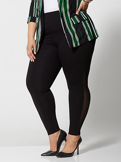 Plus Size Good Form Mesh Side Ponte Pants - Fashion To Figure