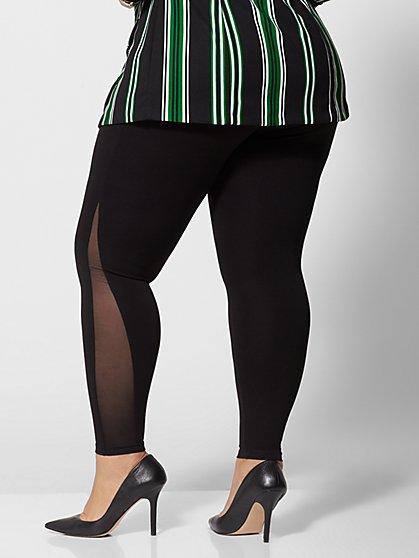 f842e19a38 ... Plus Size Good Form Mesh-Side Ponte Pants - Fashion To Figure ...