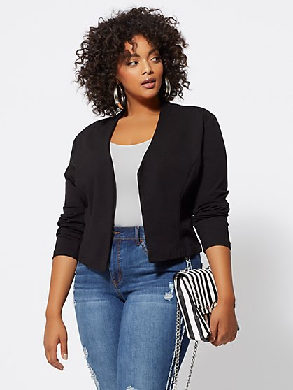Plus Size Good Form Ponte Blazer - Fashion To Figure