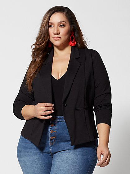 Plus Size Good Form Ponte Collared Blazer - Fashion To Figure