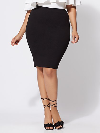 Plus Size Good Form Ponte Pencil Skirt - Fashion To Figure