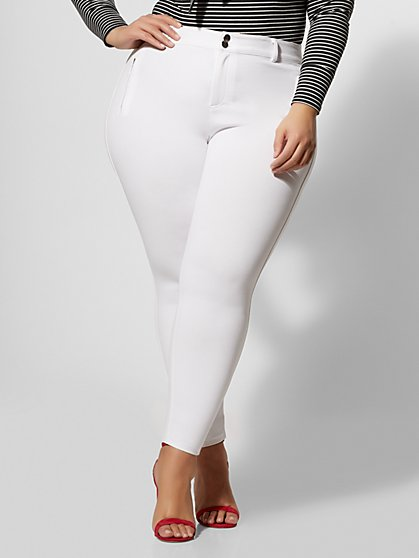 Plus Size Good Form Ponte Zipper Detail Pants - Fashion To Figure