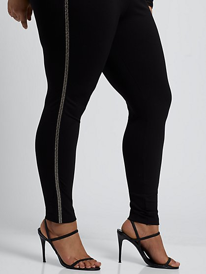 Plus Size Good Form Rhinestone Side Ponte Pants - Fashion To Figure