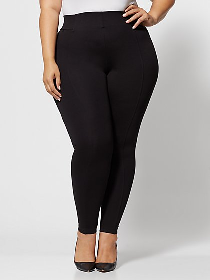 Plus Size Good Form Seam-Front Ponte Pants - Fashion To Figure