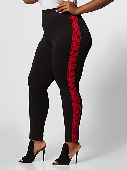 Plus Size Good Form Snake Print Side Ponte Pants - Fashion To Figure