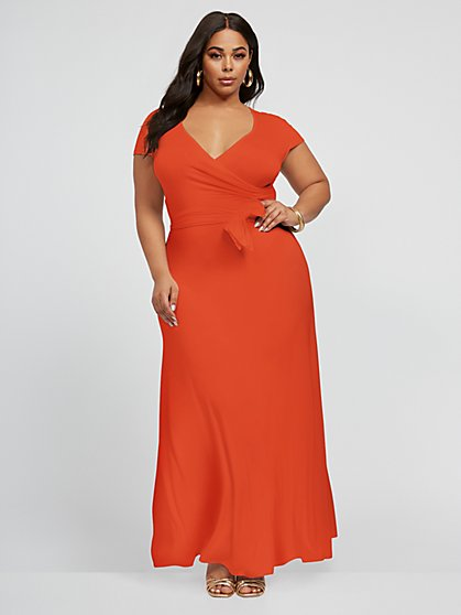 Plus Size Grace Faux Wrap Maxi Dress - Fashion To Figure